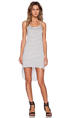 MINKPINK Stripe Hi Low Dress in White & Black