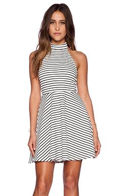 MINKPINK Find Me Guilty Halter Dress in White & Black