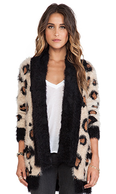 MINKPINK Wild Jungle Fuzzy Knit Cardigan in Multi