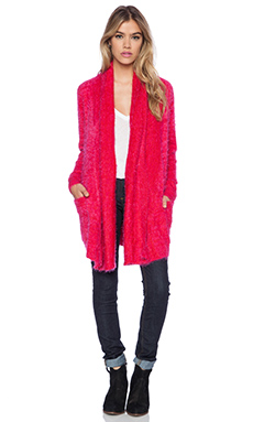 MINKPINK Snuggle Up Cardigan in Red