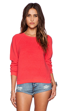 MINKPINK Ribbed Crew Neck Sweater in Strawberry