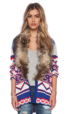 MINKPINK Legends of the Forest Jacket with Faux Fur Trim in Multi
