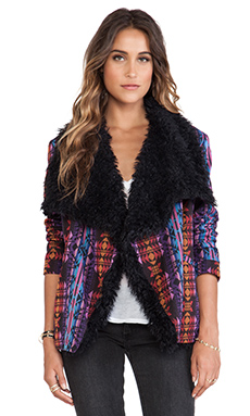 MINKPINK Mystic License Jacket with Faux Fur in Multi