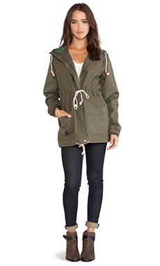 MINKPINK Mash Jacket with Faux Fur Trim in Khaki