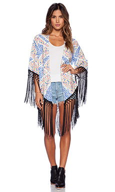 MINKPINK Placement Floral Kimono in Blue Multi