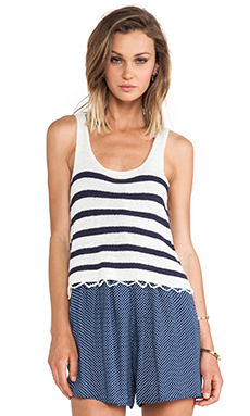 MINKPINK Next In Line Knitted Tank in White & French Blue
