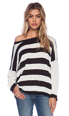 MINKPINK Lazy Sundays Knit Top in White & Black