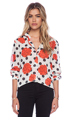 MINKPINK Falling Rose Blouse in White & Black