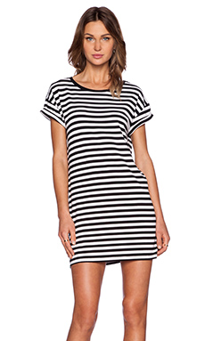 MINKPINK Stripe Roll Sleeve Tee in Black & White