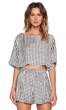 MINKPINK Gingham Crop Tee in Black