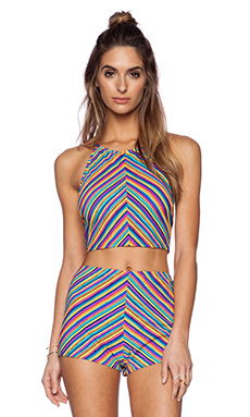 MINKPINK Herringbone Stripe Swim Top in Multi