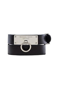Michael Kors Leather Wrap Bracelet in Silver & Black