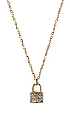 Michael Kors Jeweled Lock Necklace in Gold