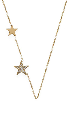 Michael Kors Star Motif Necklace & Clear in Gold