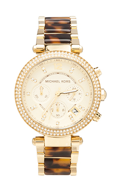 Michael Kors Parker Chronograph Watch in Tortoise/Gold