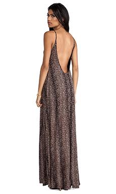 Michael Lauren Gage Deep Back Maxi Dress in Mini Leopard