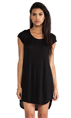 Michael Lauren Berry Crop Sleeve Baseball Hem Dress in Black