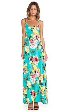 Michael Lauren Miles Maxi Dress in Teal Flower/White