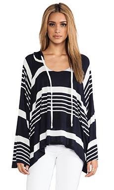 Michael Lauren Etzel Oversized Hooded Pullover in Navy/White Stripe