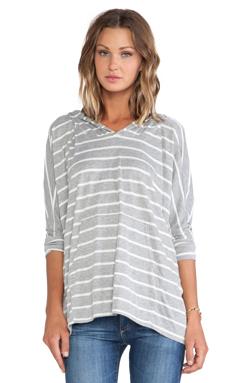 Michael Lauren Carter Oversized Pullover in Grey/White Stripe