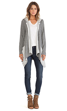 Michael Lauren Casper Draped Zip Up Hoodie in Heather Grey