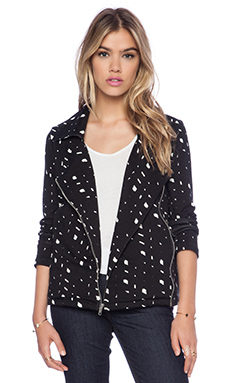 Michael Lauren Bryson Moto Jacket in Black Speckle