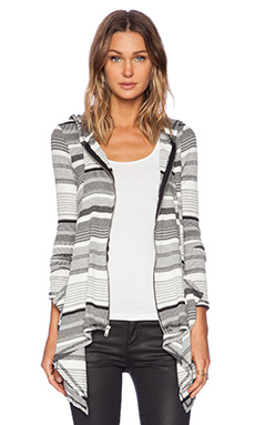 Michael Lauren Casper Draped Hoodie in Stripe