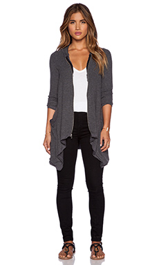 Michael Lauren Casper Draped Zip Hoodie in Black