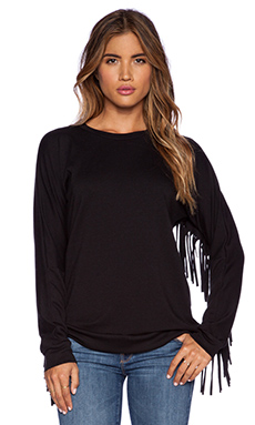 Michael Lauren Rex Fringe Sweatshirt in Black