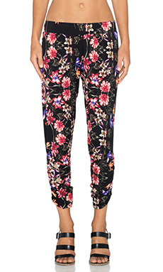 Michael Lauren Pablo Shirred Pant in Black Tropical