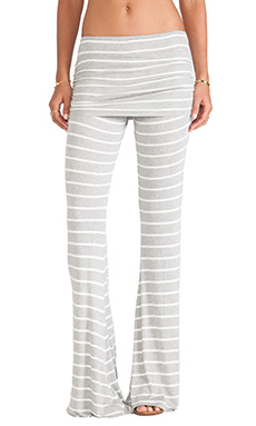 Michael Lauren Costa Fold Over Bell Pant in Grey/Whit Stripe