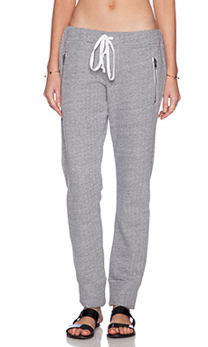 Michael Lauren Joey Zipper Sweatpant in Heather Grey