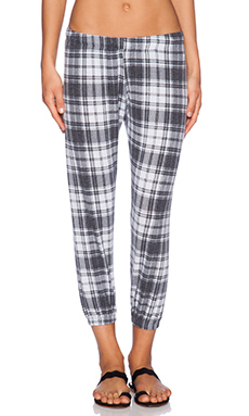 Michael Lauren Nate Crop Sweatpant in White Plaid
