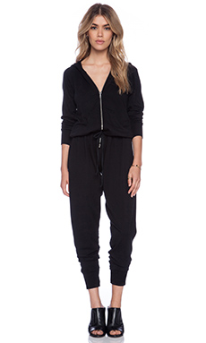 Michael Lauren Hart Hoodie Jumpsuit in Black