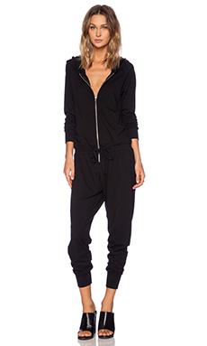 Michael Lauren Hart Zip Up Hoodie Jumpsuit in Black
