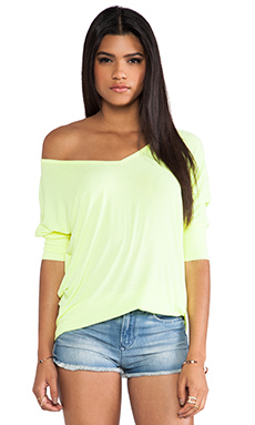 Michael Lauren Dylan 3/4 V Neck Draped Tee in Lemon Drop