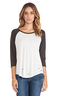 Michael Lauren Harvey Boyfriend Raglan in White/Vintage Black