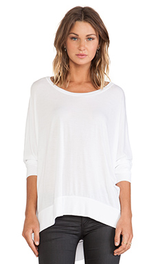 Michael Lauren Fred Long Sleeve Cape Top in White