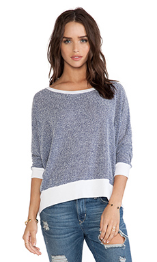 Michael Lauren Fred Long Sleeve Cape Top in Blue & White