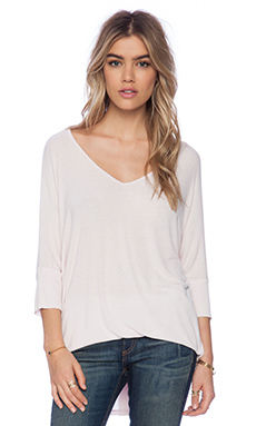 Michael Lauren Dylan Draped Tee in Pink Ivory