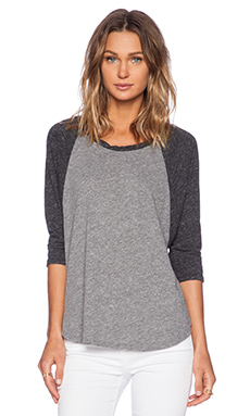 Michael Lauren Michael 3/4 Sleeve Raglan Tee in Heather Grey & Charcoal