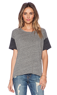 Michael Lauren Harry Drop Shoulder Tee in Heather Grey & Charcoal