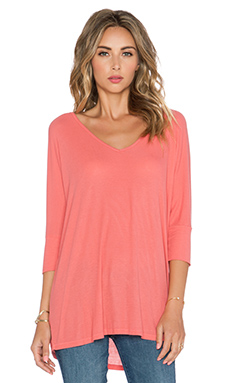 Michael Lauren Dylan 3/4 V Neck Draped Tee in Tea Rose