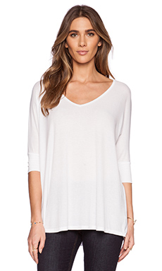 Michael Lauren Dylan Ribbed Oversized V Tee in White