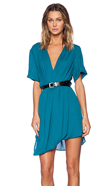 MLM Label Ziggy Roll Sleeve Dress in Teal
