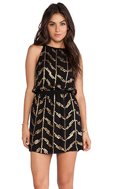 MLV Studded Halter Dress in Black & Gold