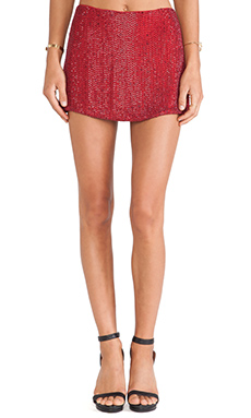 MLV Bobbi Sequin Skirt in Red