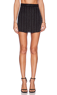 MLV Miles Striped Sequin Mini Skirt in Black