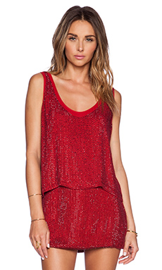 MLV Duma Sequin Sleeveless Top in Red
