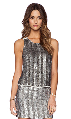 MLV Jaden Sequin Top in Pewter